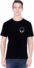 ANDSHAND Men's Alien Pocket Cotton Half Sleeve Printed T-Shirt (BlackLarge)