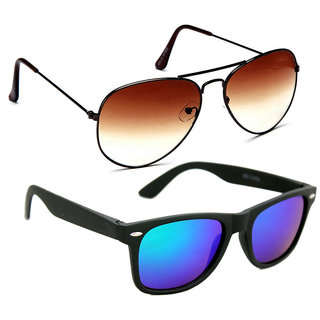 576b8a16a1 Buy Derry Combo of Multicolor Men s Aviator and Wayfarer Style UV  Protection Sunglasses Online - Get 77% Off