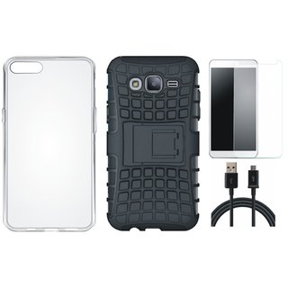 Vivo Y69 Shockproof Kick Stand Defender Back Cover with Silicon Back Cover, Tempered Glass and USB Cable