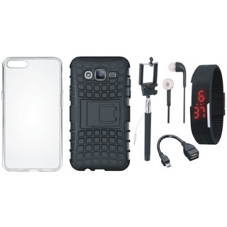 Vivo Y69 Shockproof Kick Stand Defender Back Cover with Silicon Back Cover, Selfie Stick, Digtal Watch, Earphones and OTG Cable
