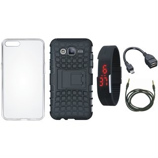 Lenovo K8 Plus Shockproof Kick Stand Defender Back Cover with Silicon Back Cover, Digital Watch, OTG Cable and AUX Cable
