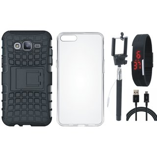Oppo A57 Shockproof Tough Armour Defender Case with Silicon Back Cover, Selfie Stick, Digtal Watch and USB Cable