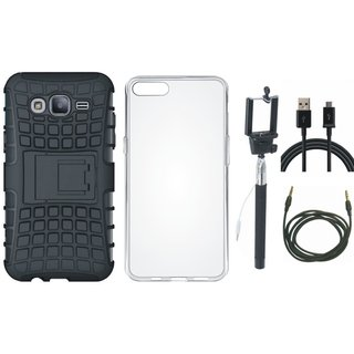 Oppo A57 Shockproof Kick Stand Defender Back Cover with Silicon Back Cover, Selfie Stick, USB Cable and AUX Cable