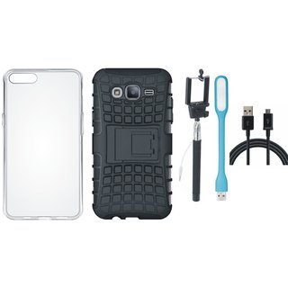 Oppo A57 Shockproof Kick Stand Defender Back Cover with Silicon Back Cover, Selfie Stick, USB LED Light and USB Cable