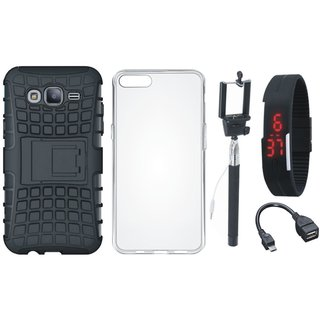 Oppo A37 Defender Tough Hybrid Shockproof Cover with Silicon Back Cover, Selfie Stick, Digtal Watch and OTG Cable