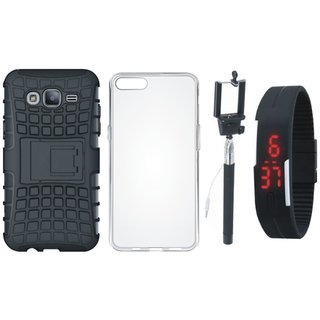 Oppo A37 Defender Tough Hybrid Shockproof Cover with Silicon Back Cover, Selfie Stick and Digtal Watch