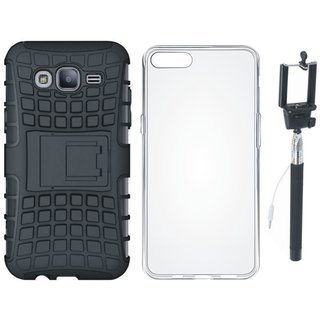 Vivo Y53 Shockproof Tough Defender Cover with Silicon Back Cover, Free Silicon Back Cover and Selfie Stick