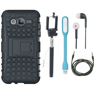 Oppo A37 Shockproof Tough Armour Defender Case with Selfie Stick, Earphones, USB LED Light and AUX Cable