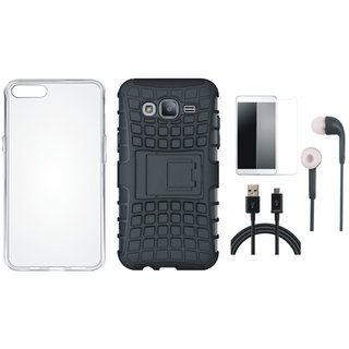 Vivo V7 Plus Defender Tough Hybrid Shockproof Cover with Silicon Back Cover, Earphones, Tempered Glass and USB Cable