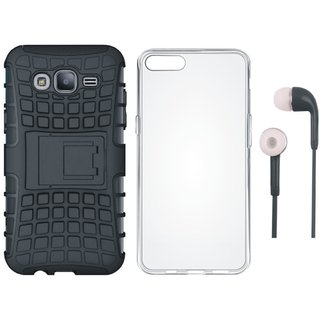 Oppo A37 Shockproof Kick Stand Defender Back Cover with Silicon Back Cover and Earphones