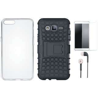Oppo A37 Shockproof Kick Stand Defender Back Cover with Silicon Back Cover, Earphones and Tempered Glass