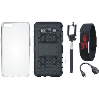 Oppo A37 Shockproof Kick Stand Defender Back Cover with Silicon Back Cover, Selfie Stick, Digtal Watch and OTG Cable
