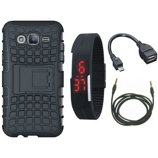 Motorola Moto C Defender Tough Hybrid Shockproof Cover with Digital Watch, OTG Cable and AUX Cable