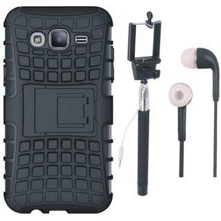 Motorola Moto C Defender Tough Hybrid Shockproof Cover with Selfie Stick and Earphones