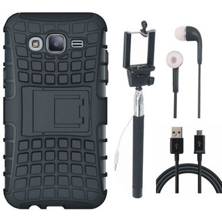 Motorola Moto C Defender Tough Armour Shockproof Cover with Selfie Stick, Earphones and USB Cable