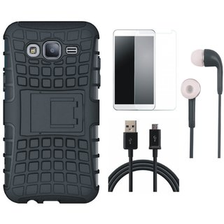 Motorola Moto C Shockproof Tough Armour Defender Case with Earphones, Tempered Glass and USB Cable