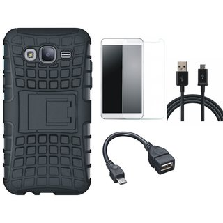 Motorola Moto C Shockproof Tough Armour Defender Case with Tempered Glass, OTG Cable and USB Cable