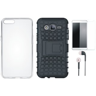 Vivo V7 Plus Defender Back Cover with Kick Stand with Silicon Back Cover, Tempered Glass and Earphones