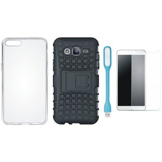 Motorola Moto C Shockproof Tough Armour Defender Case with Silicon Back Cover, Tempered Glas and USB LED Light