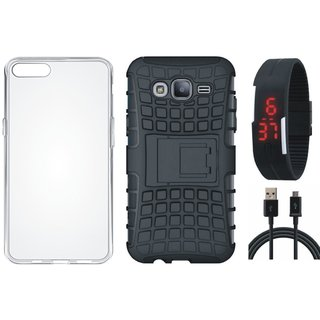 Motorola Moto C Shockproof Tough Armour Defender Case with Silicon Back Cover, Digital Watch and USB Cable