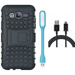 Motorola Moto C Shockproof Kick Stand Defender Back Cover with USB LED Light and USB Cable