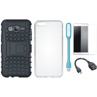 Motorola Moto C Shockproof Kick Stand Defender Back Cover with Silicon Back Cover, Tempered Glass, USB LED Light and OTG Cable