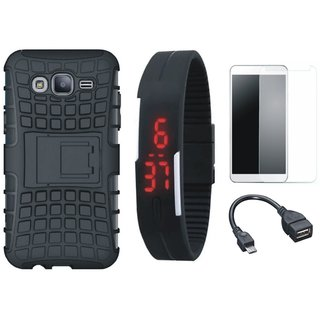 Motorola Moto C Shockproof Kick Stand Defender Back Cover with Free Digital LED Watch, Tempered Glass and OTG Cable