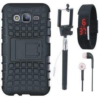 Samsung J7 Prime Defender Tough Armour Shockproof Cover with Selfie Stick, Digtal Watch and Earphones