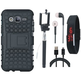 Samsung J7 Prime Defender Tough Armour Shockproof Cover with Selfie Stick, Digtal Watch, Earphones and USB Cable