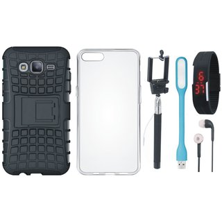 Samsung J7 Prime Defender Tough Armour Shockproof Cover with Silicon Back Cover, Selfie Stick, Digtal Watch, Earphones and USB LED Light