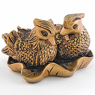 Pair of 2 Mandarin Ducks symbol of Love and Marriage with 3 lucky coins (8 cms X 6 cmsX 4.5 cms)