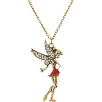 Habors Red And Gold Rhinestone Angel Pendant Long Necklace