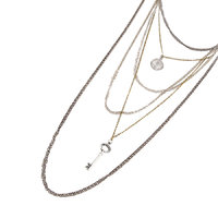 Habors Silver Key And Coin Multilayer Long Necklace