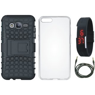 Oppo A71 Defender Tough Armour Shockproof Cover with Silicon Back Cover, Digital Watch and AUX Cable