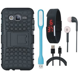 Samsung C9 Pro Defender Back Cover with Kick Stand with Digital Watch, Earphones, USB LED Light and USB Cable