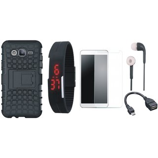 Samsung C9 Pro Defender Back Cover with Kick Stand with Free Digital LED Watch, Tempered Glass, Earphones and OTG Cable