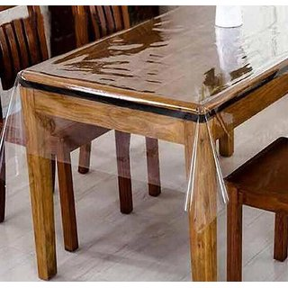 Clear Dining Table Cover Tablecloth Waterproof Protector, 4-6 seater, 54 X 78 Inches Rectangle(without laced edges)