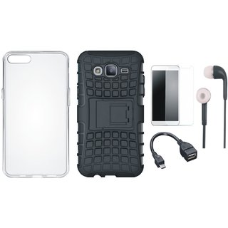 Oppo F1 Plus Shockproof Kick Stand Defender Back Cover with Silicon Back Cover, Tempered Glass, Earphones and OTG Cable