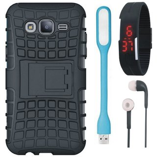 Coolpad Note 5 Defender Back Cover with Kick Stand with Digital Watch, Earphones and USB LED Light
