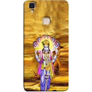 FUSON Designer Back Case Cover for Vivo V3 (Krishna With Murli Sheshnag Morpankh Lotus Makhanchor)