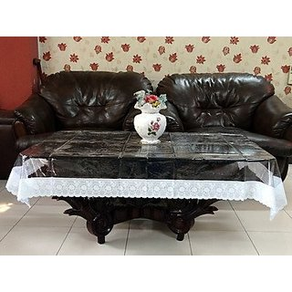 Khushi Creations Transparent Center Table Cover 4 Seater 4060 Inches (Silver Lace)