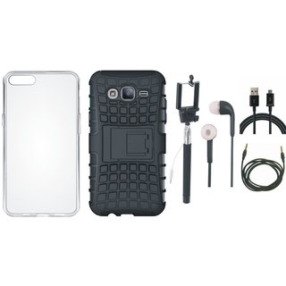 Oppo F1s Defender Tough Armour Shockproof Cover with Silicon Back Cover, Selfie Stick, Earphones, USB Cable and AUX Cable