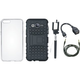 Oppo F1s Shockproof Tough Armour Defender Case with Silicon Back Cover, Selfie Stick, OTG Cable and AUX Cable