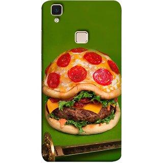 FUSON Designer Back Case Cover for Vivo V3 (Pizza Burger King Mcdonald Sword Cheese Big)