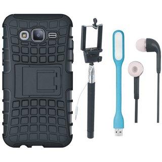Motorola Moto G5 Plus Shockproof Tough Armour Defender Case with Selfie Stick, Earphones and USB LED Light