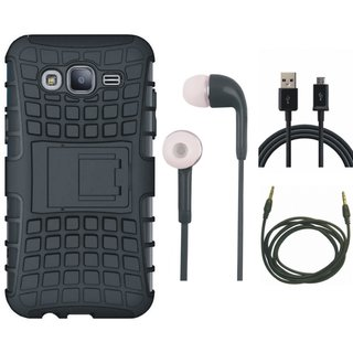 Motorola Moto G5s Defender Back Cover with Kick Stand with Earphones, USB Cable and AUX Cable