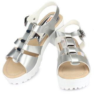 b8409bfa9601 Buy Ladies Sandal DIGNI Silver Block Heels (DDWF-GA-01-SILVER-36 ...