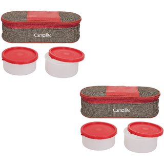 Set Of 2 Royal Red-Brown Lunchbox  2 Plastic Cantainer