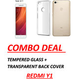 Redmi Y1 Tempered Glass With Transparent Cover Standard Quality