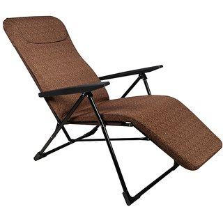 Grand Adjustable Folding Recliner Chair - Easy Push Back for Relax - Deluxe - Floral Brown